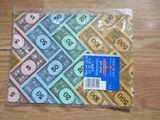 """Monopoly Gift Wrap Vintage 1984 Forget Me Not 1 Sheet 39"""" x 30"""" MIP Made in USA"""