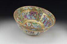 Chinese Rose Medallion Porcelain Punch Bowl Full Mandarin Figures 19th Century