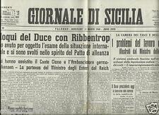 IL GIORNALE DI SICILIA 13 MARZO 1940 FAC SIMILE GIORNALI DI GUERRA FASCISMO
