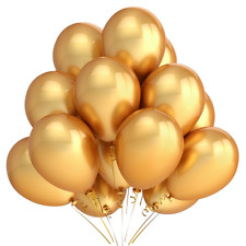 Home Kitty 100 Pack 12 Inches Gold Color Latex Party Balloons - Party