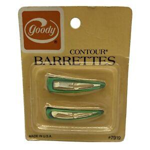 Vintage 1975 Goody Contour Barrettes Green Metal Hair Clips Pkg 2 NOS