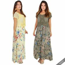 Round Neck Sleeveless Floral Viscose Dresses for Women