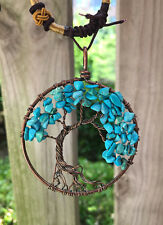 Blue Turquoise child  Tree Of Life men Pendant Copper Necklace Women lovers