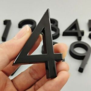 3D Home Street Numbers Signage Black Outdoor Decors Door Plates Plastic Material