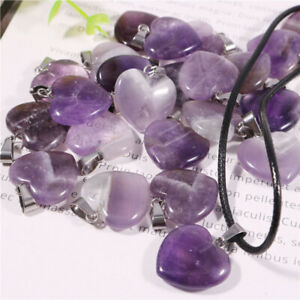 100pcs Charms Natural Amethyst Gemstone Heart Stone Pendants for Jewelry Making