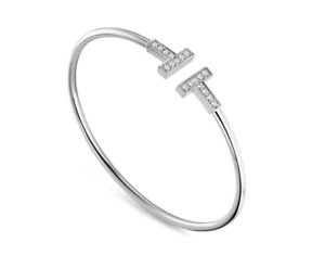 T Bangle Bracelet White Gold 18K Plated Swarovski Crystals Adjustable Size