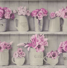 Wooden Style Wallpaper Flowerpot Kitchen Bathroom Washable Vinyl Grey Pink Rasch