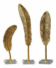 Gold Feathers Contemporary Sculpture Set 3 pc   Desk Gift Elegant Statue