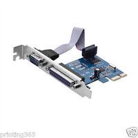 PCI-E PCI Express  Serielle COM DB9 RS-232 + DB25 Drucker LPT Port Adapter
