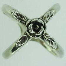 Sterling Silver Rose Flower Knuckle Ring Size 6
