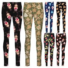 New Ladies Ginger Bread Snowman Xmas tree Rudolph Face Print Leggings Pants 8-14