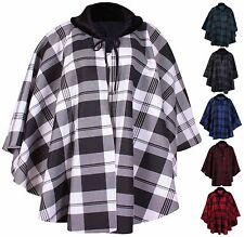 Womens Plus Size New Check Print Ladies Faux Fur Fleece Collar Poncho Cape Coat