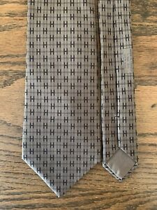 HERMES Silk Tie 5266 SA Interlocking H Logo Pattern Classic Necktie Brown France
