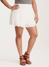 Torrid Floral Mesh Embroidered Shorts White 1X 14 16 1 #57901