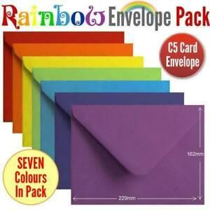 105 Rainbow Envelopes Multi Coloured A5 Size Gummed Rainbow Coloured Envelopes