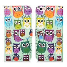 Magnetic Flip Wallet Leather Case Cover for Apple iPhone 5 5c 5s Screen Guard Owls on Green I Phone 6