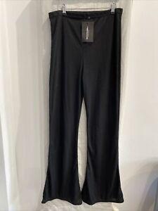 PRETTYLITTLETHING Black Ribbed Flared Trousers Size UK 16