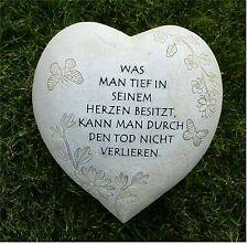 Grabschmuck Herz / Schmetterling + Blumen *Was man tief in seinem..* grau-antik