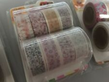 Set Of 8 Craft Flower Floral 1.5cm X 5MTR Washi Sticky Tape DIY Scrapbook Diary