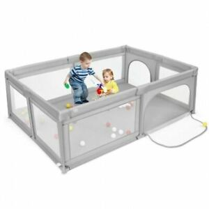Durable Extra-Large Safety Baby Fence w/50 Ocean Balls-Gray