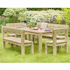 Outdoor Furniture Set Wooden Table And Bench Chairs Garden Set 6 Seater Dining