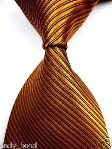 New Gold w/ Black Lining Stripe Solid Jacquard Woven Neck Tie