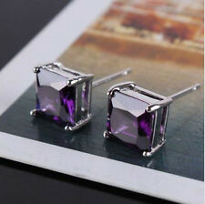 Cool 9K White Gold Filled Purple Cubic Zirconia Ladies Stud Earrings F4008