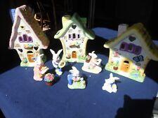 International Bazaar Easter Village (Candle/Votive) Bunnies Rabbits Cottages
