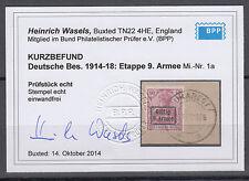 Deutsche Besetzung 1914/1918 9. Armee 1 a gestempelt geprüft Befund