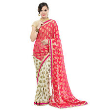 Bollywood Sarees - Hot Pink Crepe Silk Designer Cocktail Women Fashion Dress