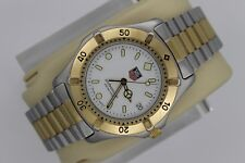 Tag Heuer 2000 Professional 2 Tone WE1122.BB0304 Gold SS Watch Mens White Sport