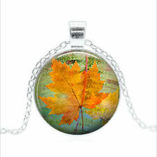 Canadian Maple Leaf Tibet silver Glass dome Necklace chain Pendant Wholesale