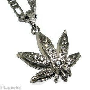 """Pot Leaf Marijuana Iced Silver Plated 24"""" in Figaro Necklace Chain Weed Pendant"""
