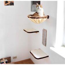 Katzen Kletterwand 4tlg. beige-braun Kratzbrett Kuschelmulde für Wandmontage