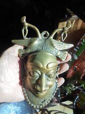 Statuette Africaine Sculpture Objet Ethnique Bronze Petit Masque au Oiseaux Grue