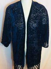 NWT Zara Dark Blue Burnout Velvet Open Kimono Size Medium Boho Festival