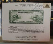 BEP souvenir card B 61 ANA 1983 back 1915 $20 Federal Reserve Show cancelled