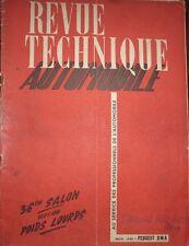Revue technique PEUGEOT DMA CAMION 1 RTA 43 1949 SALON 1949 POIDS LOURDS AUTOCAR