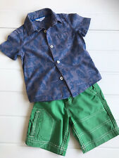 Boys John Lewis Age 3 Years Tiger Print Blue Shirt & Green Ribbed Waist Shorts