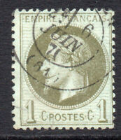 France 1 Cent Stamp c1863-70 Used (small faults) (2278)