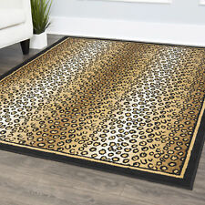 Animal Print Striped Leopard Skin Area Rug Bordered Modern Spotted Carpet