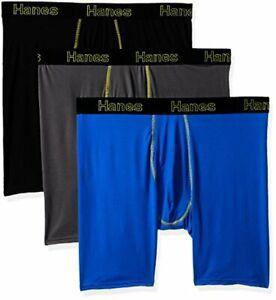 Hanes Mens 3-Pack Comfort Flex Fit Ultra Lightweight Mesh Boxer Brief, Assorted