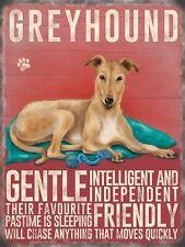 Dog Metal Sign -Greyhound, Light- Metal Sign Nostalgic  Gift 20cm x 15cm