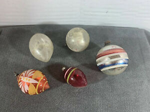 5 Vintage Christmas Tree Ornaments Mercury Glass Balls Hand Painted