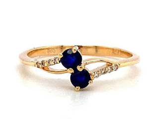 Handmade Natural Sapphire and Diamond Ring in 14K Yellow Gold - KGR 17135