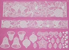 Christmas Xmas Bells, Bows and Baubles 3D Cake Lace Mat by Claire Bowman