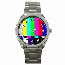 TV Test Screen Television Test Color Bars SMPTE Stainless Steel Watch