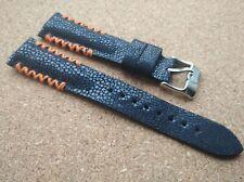 Geckota 20mm,Genuine Dark Blue Stingray Skin Leather Handmade Padded Watch Strap