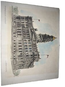 Constance Powell Hand Colored Etching: Old Wayne County Courthouse