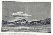 Antique print Sitka, Alaska New Archangel 1845